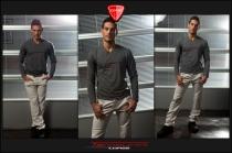 Jeans Biker pantalone ghiaccio